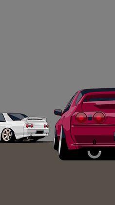 Nissan Skyline Gtr R32, Nissan Gtr R34, Toyota Cars, Toyota Supra, Car Illustration, Illustrations, Cool Car Drawings, Jdm Wallpaper, Bmw Wallpapers