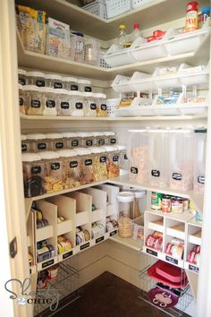 This is what can be done with lots and lots of storage containers.  PIcking just a few of the right sizes and using lots of them can make for an extremely organized space.