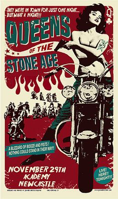 Queens Of The Stone Age Poster - Academy, Newcastle - Chris Hopewell Tour Posters, Band Posters, Rock And Roll, Vintage Music Posters, Pochette Album, Gothabilly, We Will Rock You, Stone Age, Arte Pop