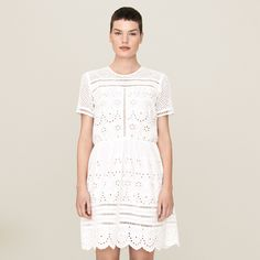 FWSS Dandelion Love is a delicate cotton broderie anglais dress with nude slip underneath and tie fastening at back of neck. Elastic ribbon at waist. Lace Dress, White Dress, Fall Winter Spring Summer, Elastic Ribbon, White Lace, Dandelion, Short Sleeve Dresses, Cotton, Clothes