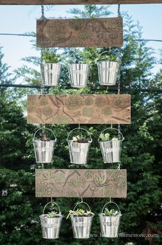 DIY Hanging Succulent Planters - gorgeous, but I think in AZ I'd hesitate to put them in metal pails; might cook their poor little roots. Maybe if the pails were painted white. Succulent Planter Diy, Hanging Succulents, Diy Planters, Succulents Diy, Hanging Planters, Hanging Baskets, Flower Planters, Vertical Garden Design, Vertical Planter