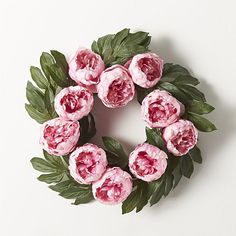 Peony Artificial Flower Wreath  | Crate and Barrel