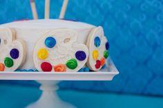 Easy art party cake #artparty #artpartyideas ~ available at etsy.com/shop/celebrationshoppe