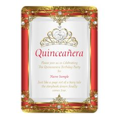 Red Gold White Pearl Princess Quinceanera