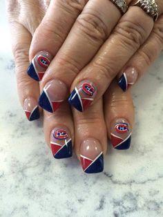 Des ongles tricolores / Bleu-blanc-rouge nails #GoHabsGo #Habs