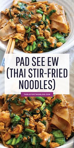 Pad see ew is one of the most popular dishes at Thai restaurants and now you can make it at home yourself and enjoy anytime! Pad see ew is one of the most popular dishes at Thai restaurants and now you can make it at home yourself and enjoy anytime! Fried Noodles Recipe, Stir Fry Noodles, Rice Noodles, Pad Thai Noodles, Vegetarian Recipes, Cooking Recipes, Healthy Recipes, Thai Food Recipes, Healthy Food