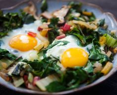 Eggs Nested in Sautéed Chard and Mushrooms