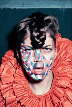 painting face-i love fake fashion magazine-kris de smedt photography-orange color-50's hair
