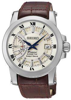 Montre Seiko Premier Kinetic Direct Drive SRG013P1 homme avec bracelet en cuir marron et cadran couleur ivoire.