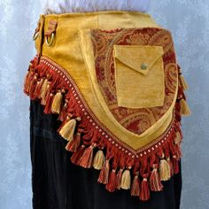 #pocketbelt #Tribal fusion utility belt - red and yellow fancy pocket belt - #steampunk bellydance Renaissance Faire pockets - Small