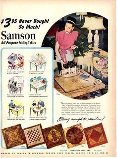 1947 Samson Folding Table Vintage All Purpose Table Print Ad   eBay