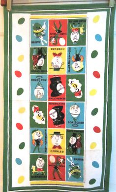 Vintage Towel Funny Eggs Anthropomorphic at NeatoKeen on Etsy Vintage Humor, Vintage Stuff, Vintage Tea, Types Of Eggs, Funny Eggs, Linen Apron, Hole In One, Food Illustrations, Kitchen Towels