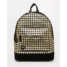 Mi-Pac Backpack in Gold Houndstooth ($53) ❤ liked on Polyvore featuring bags, backpacks, blackgold, gold zipper backpack, zipper bag, gold bag, rucksack bag and top handle bag