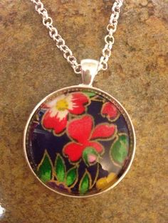Japanese rice paper necklace with round glass dome-- on Etsy, $15.00