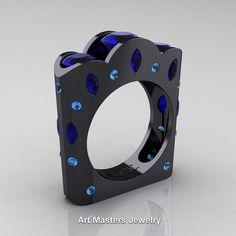 French 14K Black Gold Three Stone Round and Marquise Blue Sapphire Aquamarine Wedding Ring R733-14KBGAQBS | ArtMastersJewelry