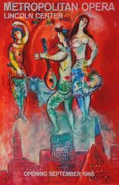 Carmen, 1966 Metropolitan Opera. Marc Chagall (Russian/French, 1887-1985). Print on paper. Advertisement for the Carmen opening at the Met in the Lincoln Center, illustrating three muse-like figures floating above a cityscape set against a red background, signed in pencil. It has been said that the central figure depicts Rudolf Bing, the Met's director at that time who commissioned the enormous 1966 painting The Triumph of Music by Chagall hanging at the Met and from which this detail is…