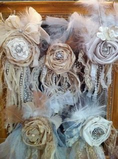 Tattered Rose clip fabric flowers  MADE TO ORDER  pearls lace. $25.00, via Etsy.