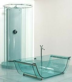   glass tub and shower