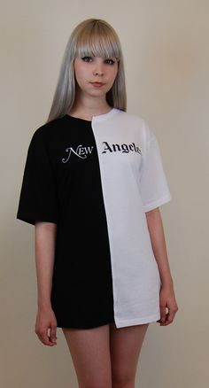 60a39aeee8f8f Half and half tee new angeles los york unisex by rojasclothing Black And  White Shirt
