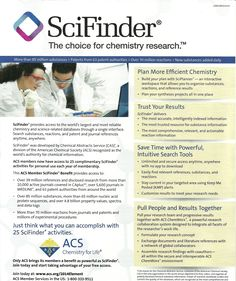 Product: SciFinder (tm) Producer: Chamical Abstract Service (CAS) Platform: WEB access Description: Search Tools for substance, reactions. patent, journal reference. It provides access to more than 40 mln. references from more than 10000 journals (from CAPlus (tm) database) and over 5600 journals (from Medline (tm) database and 63 patent authorities. Also - more than 90 mln. substances and 65 mln. nucleic acid (4.8 bln property values, spectra, etc). It covers more than 70 mln reactions. Nucleic Acid, Search Tool, Property Values, Trust Yourself, Chemistry, Software, The Past, Archive, Author