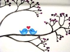 Hand Painted Platter with Love Birds by PrettyMyDrink on Etsy