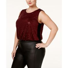 Rachel Rachel Roy Trendy Plus Size Sequined Bodysuit ($112) ❤ liked on Polyvore featuring plus size women's fashion, plus size clothing, plus size intimates, plus size shapewear and doc marten red
