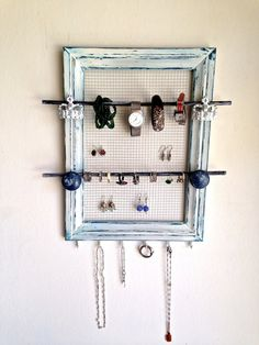 Jewelry Holder Wood Frame Handmade and Hand Painted by PippinPost, $49.00