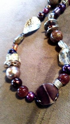 One o a kind Bead painting multi bead necklace in browns and wines #1048 by LoisWagnerOriginals on Etsy