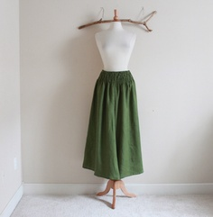 cedar linen shirred waist wide leg pants