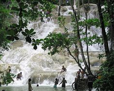 Dunns River Falls Jamaica... Yes we climbed and even got mom to go 3/4 of the way up too! Amazing Family Trip!