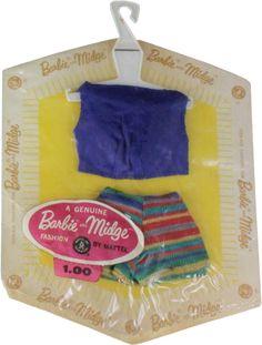 1962/63 Barbie & Midge - (Knit Mix 'N Match Group) Blue Knit Top & Strip Knit Shorts (Fashion Pak) #