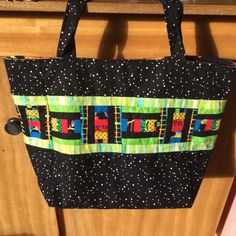 Handmade Designer Tote Bag,  . Black and Multicolour Patchwork bag.  Shopping Tote, Travel Tote, Fabric Tote.