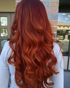 Red and copper balayage color created by chelsea at Jamie's Hair Design in Thousand Oaks ca.  805 496 4747