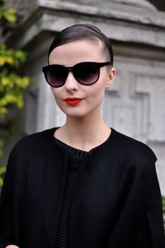 chic sunglasses and lipstick. 2 tricks for fooling the public into thinking you're more put-together than you are.