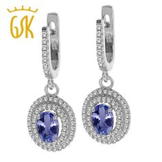 gemstoneking 1.57 ct 7x5mm oval blue tanzanite 925 sterling silver dangle earrings