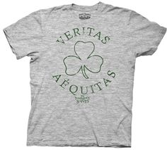 """Boondock Saints Veritas Aequitas Clover Shirt  This officially licensed Boondock Saints shirt features a shamrock and """"Aequitas"""" and """"Veritas"""" which is Latin for """"Truth"""" and """"Justice"""".    Fabric Details        Color: Heather Gray      90% cotton / 10% polyester    Our Price: $17.95  - See more at: http://www.oldschooltees.com/Boondock-Saints-Veritas-Aequitas-Clover-Shirt-p/bds003.htm#sthash.fS4rhWzk.dpuf"""