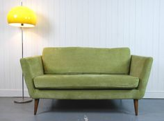 GREEN 2 SEATER SOFA BY DFS - CAPSULE COLLECTION - RETRO, MID CENTURY STYLE