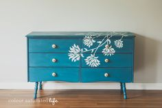 Hand Painted Dresser Miss Mustard Seed Milk Paint Flow Blue   Colour Saturated Life