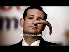 """4/1/2016 John Kasich presses a Super PAC supporting him to pull ad assailing Ted Cruz.Commercial released by New Day for America depicts Cruz with a Pinocchio-like nose growing & wrapping around his neck - Among other things,it refers to an ad by a PAC Supporting Cruz that billionaire George Soros had provided hundreds of thousands of dollars in support of Mr. Kasich """"If Ted Cruz's mouth is moving,he's lying"""" the ad concludes."""