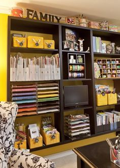 {Organization} Yellow and Black and Very Organized Scrapbook Room - Scrap this...and that!   Scrap this...and that!