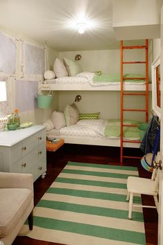 Such a cute room for twins or siblings...nice use of small space