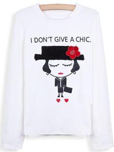 White Long Sleeve Letters Portrait Print T-Shirt - Sheinside.com