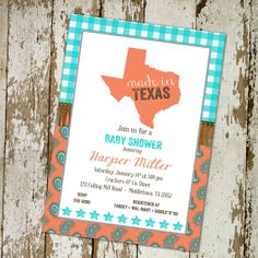 baby girl shower invitations western style, any state, Made in Texas digital, printable file (item 1373) on Etsy, $13.00