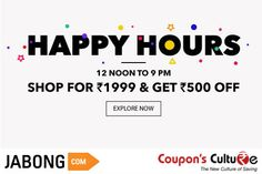 #Jabong #HappyHours Shop for Rs. 1999 and get Flat Rs. 500 Off. Shop Now