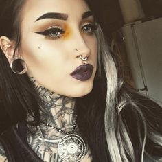 """""""Crawl inside this body. Find me where I am ruined - love me there. Girl Tattoos, Tatoos, Septum Ring, Piercings, Halloween Face Makeup, Instagram Posts, Girls, Sexy, Style"""