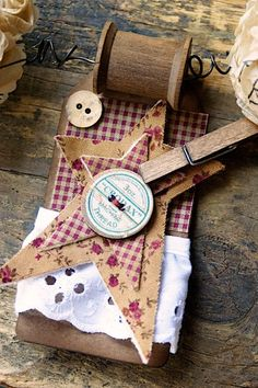 Prim Country Banner With Stars, Spools, Buttons, Clothespins, and Sewing Patterns