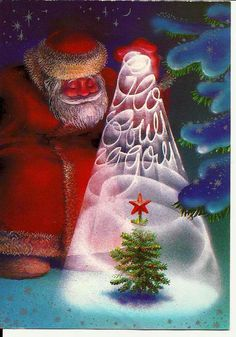 Santa Claus with New Year Tree -Postcard Vintage Russian
