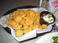 Fried pickles- yummm....Angry Dog Cafe in Dallas has really good ones