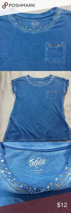 {Justice} Blue Bling Pocket Tee. {Justice} Blue Bling Pocket Tee. Sz 7 Justice Shirts & Tops Tees - Short Sleeve