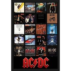 Buy Art For Less 'AC/DC Discography Album Covers 1976-2014' Framed Graphic Art